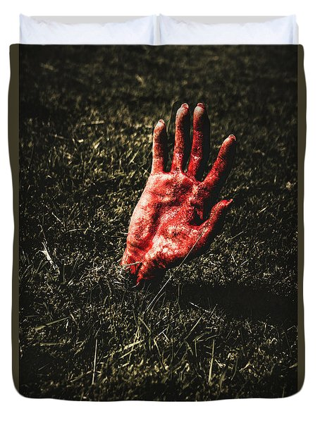 Zombie Rising From A Shallow Grave Duvet Cover