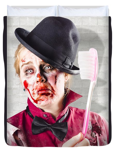 Zombie With Big Toothbrush. Fear Of The Dentist Duvet Cover