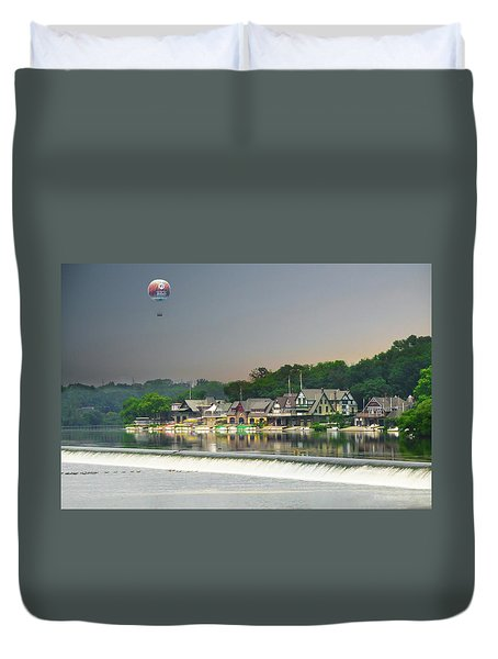 Duvet Cover featuring the photograph Zoo Balloon Flying Over Boathouse Row by Bill Cannon