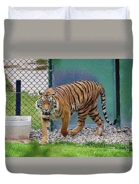 Duvet Cover featuring the photograph Zoo Tiger Staring At Me by Merton Allen