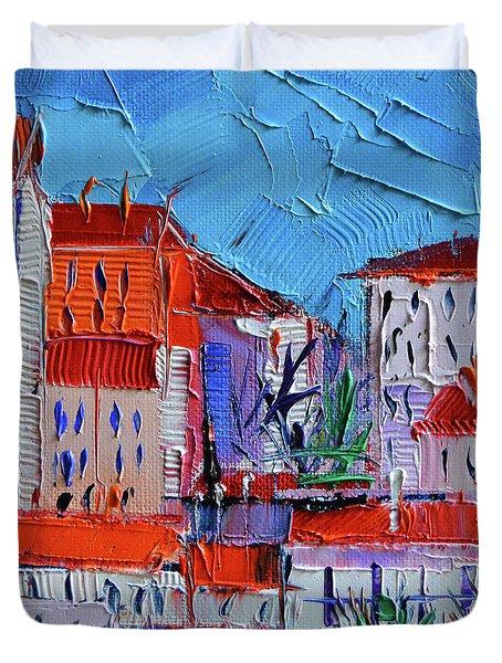 Zoom On Croix-rousse - Lyon France - Palette Knife Oil Painting By Mona Edulesco Duvet Cover