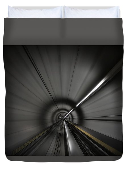 Zooming Along In The Tunnel Of Hope Duvet Cover