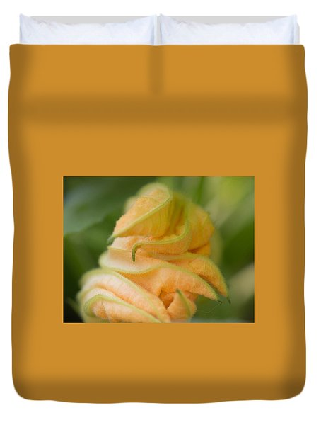 Duvet Cover featuring the photograph Zucchini Flower by Cathy Donohoue