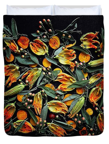 Zucchini Flower Patterns Duvet Cover