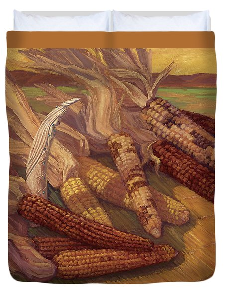 Zuni Corn Maiden Duvet Cover