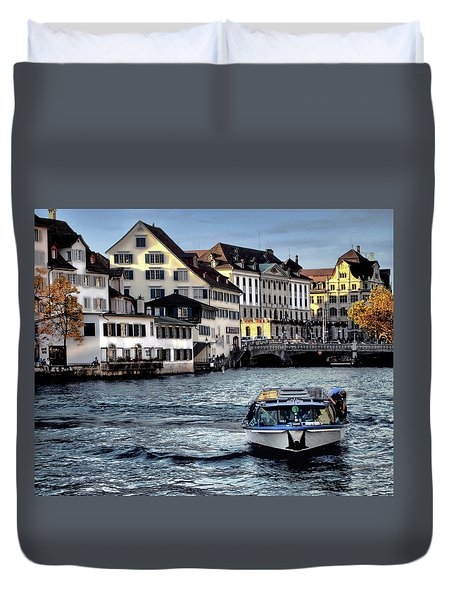 Duvet Cover featuring the photograph Zurich by Jim Hill