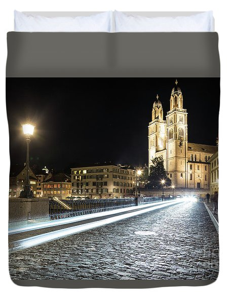 Zurich Night Rush In Old Town Duvet Cover