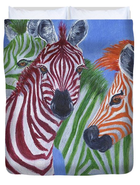 Duvet Cover featuring the painting Zzzebras by Jamie Frier