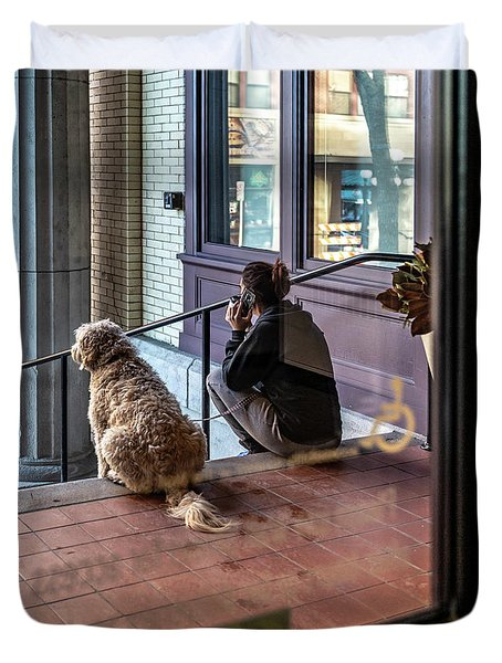 018 - Girl And Dog Duvet Cover
