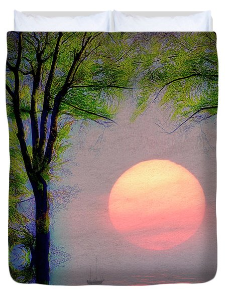 Duvet Cover featuring the digital art A New Day by Edmund Nagele