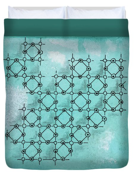 Duvet Cover featuring the drawing Abstract Biological Illustration by Ariadna De Raadt