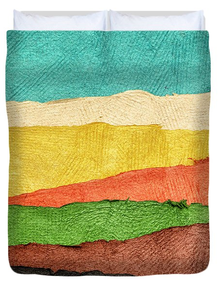 Abstract Landscape Created With Handmade Paper Duvet Cover