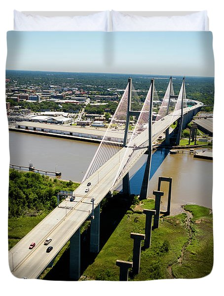 Aerial View Of Talmadge Bridge Duvet Cover