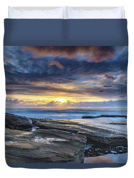 An Atmospheric Coastal Sunrise Duvet Cover
