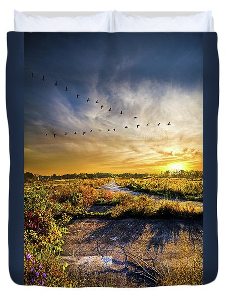Duvet Cover featuring the photograph An Old Road by Phil Koch