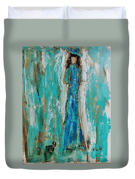 Angel With Her Pet Duvet Cover
