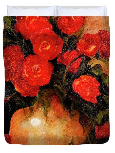 Antique Red Roses Duvet Cover