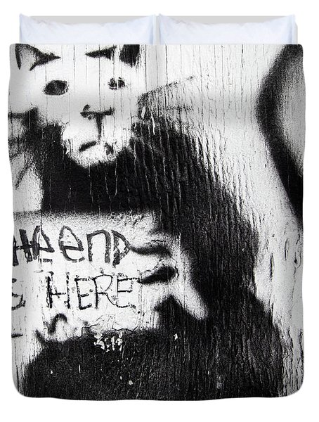 Duvet Cover featuring the photograph Banksy Rat The End Is Here by Gigi Ebert