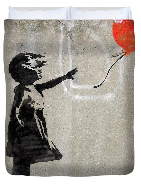 Duvet Cover featuring the photograph Banksy Street Art Balloon Girl by Gigi Ebert