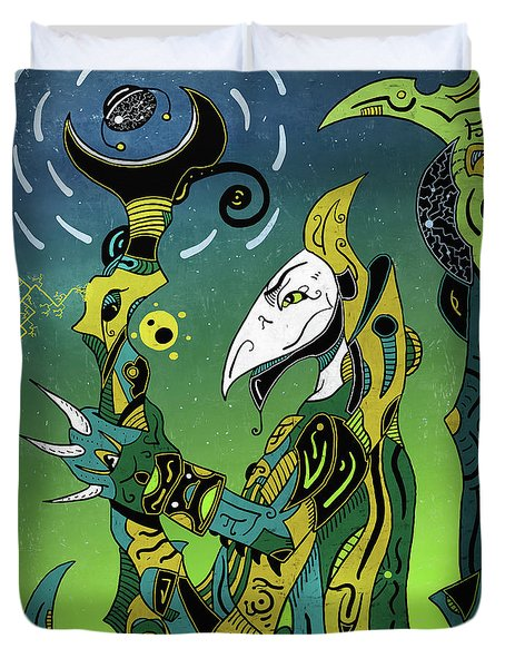 Duvet Cover featuring the digital art Birdman by Sotuland Art
