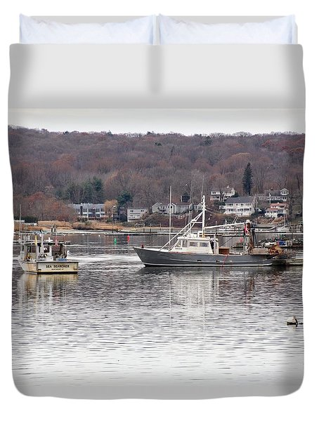 Boats At Northport Harbor Duvet Cover