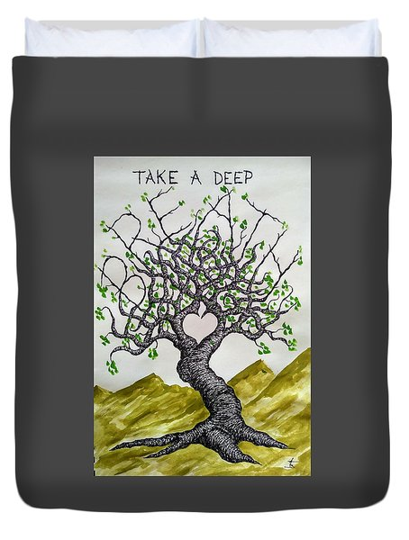 Duvet Cover featuring the drawing Breathe Love Tree by Aaron Bombalicki