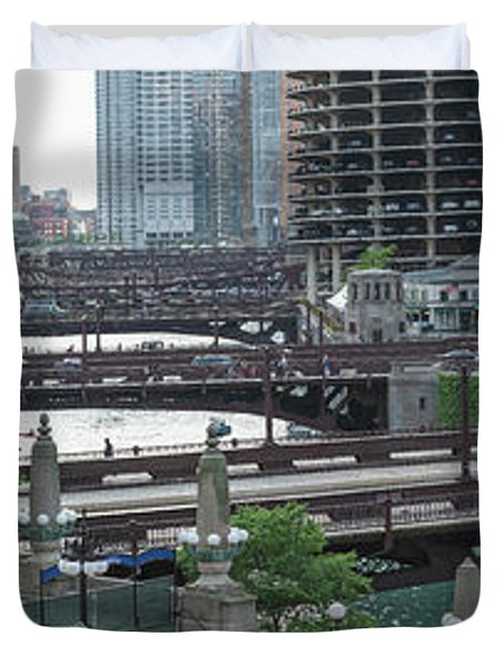 Chicago River Panorama Duvet Cover