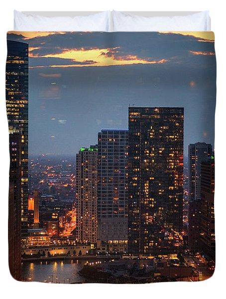 Chicago Sunset Duvet Cover