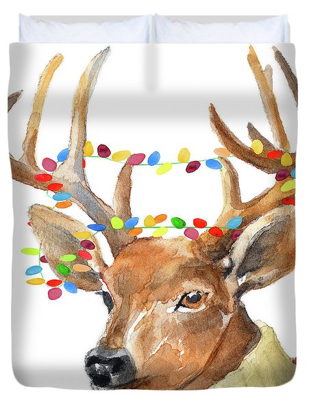 Christmas Lights Reindeer Sweater Duvet Cover