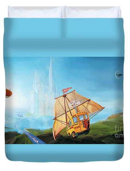 Duvet Cover featuring the painting City On The Sea by Donna Hall