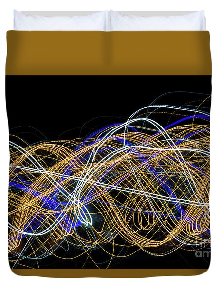 Colorful Light Painting With Circular Shapes And Abstract Black Background. Duvet Cover