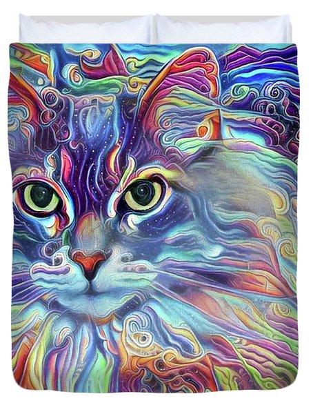 Colorful Long Haired Cat Art Duvet Cover