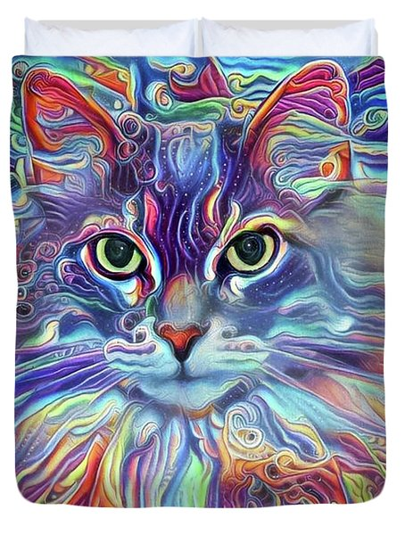 Colorful Long Haired Cat Art Duvet Cover