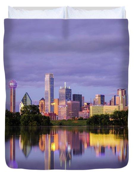 Dallas Texas Cityscape Reflection Duvet Cover