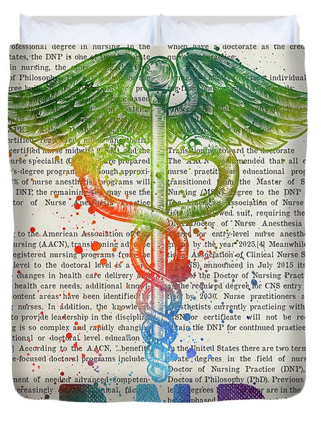 Doctor Of Nursing Practice Gift Idea With Caduceus Illustration  Duvet Cover