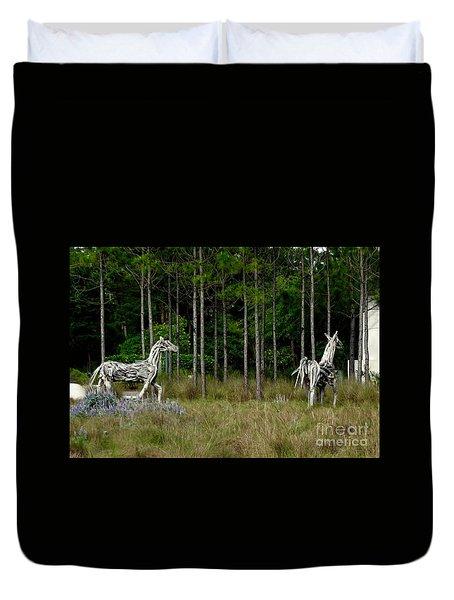 Driftwood Horses Duvet Cover