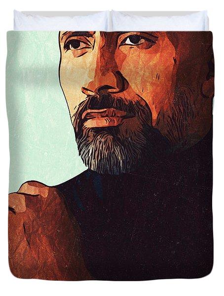 Dwayne Johnson Artwork Duvet Cover