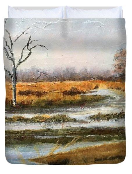 Early Spring On The Marsh Duvet Cover