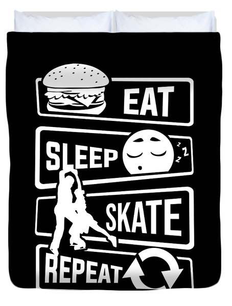 Eat Sleep Skate Repeat Figure Skating Winter Ice Duvet Cover