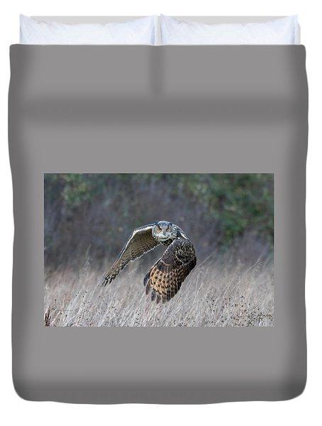 Eurasian Eagle Owl Flying Duvet Cover