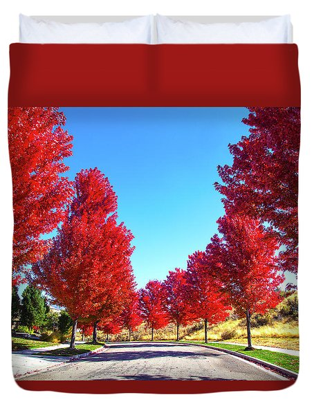 Duvet Cover featuring the photograph Fall In Boise by Dart and Suze Humeston