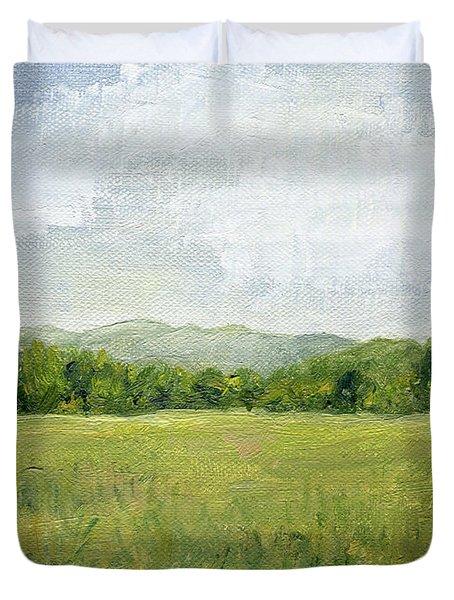 Fields Meet Mountains Duvet Cover
