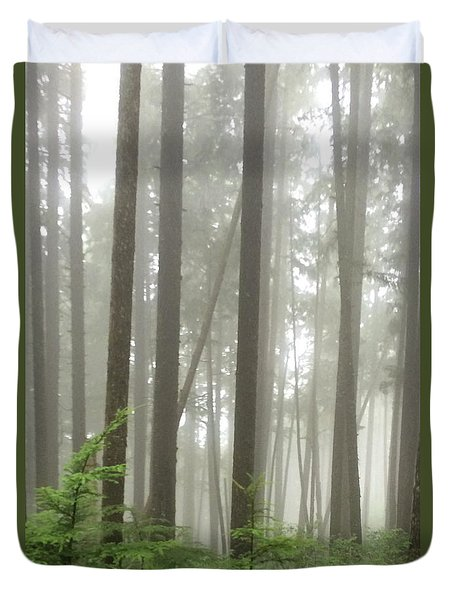Duvet Cover featuring the photograph Foggy Forest by Karen Zuk Rosenblatt