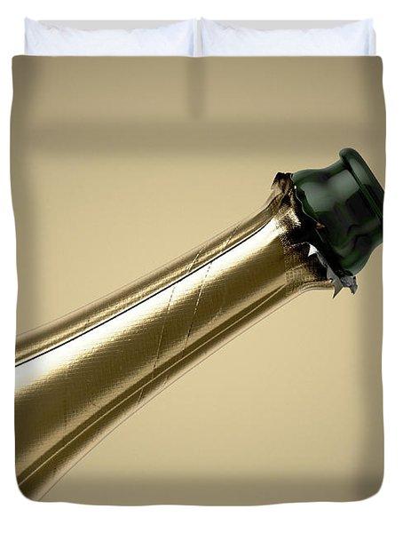 Gold Champagne Bottle Open Neck Duvet Cover