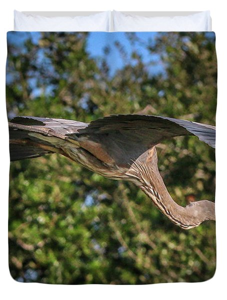 Great Blue In Flight Duvet Cover