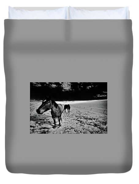 Duvet Cover featuring the photograph Horses On The Palouse by David Patterson
