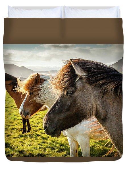 Icelandic Horses Duvet Cover