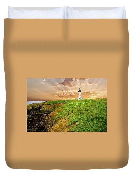 Lighthouse On  Yaquina Head  Duvet Cover