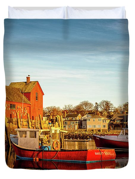 Low Tide And Lobster Boats At Motif #1 Duvet Cover