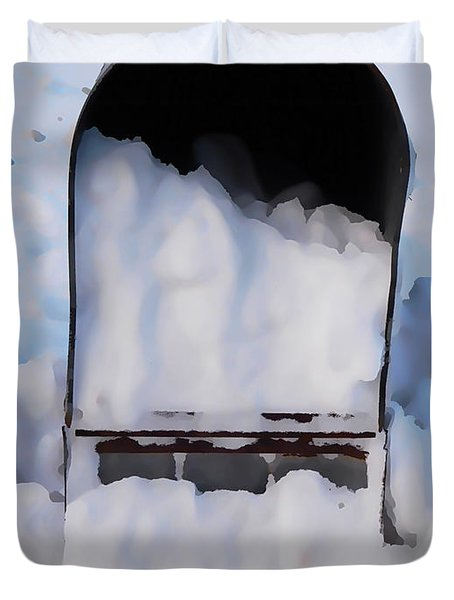 Mailboxes Covered In Snow 5 Duvet Cover